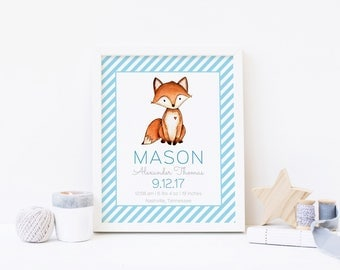 Fox Birth Announcement Printable, Personalized Birth Stats Nursery Wall Art Print, Woodland Fox Deer Baby Kids Room Decor, New Baby Gift