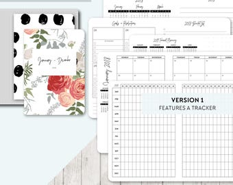 TN A6 Size: 2018 Month on 2 Pages, Printable Travelers Notebook Insert, A6 Tn, Printable Planner, Monthly, Mo2P - Classic Series