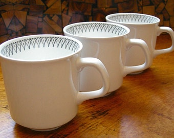 1960's J & G Meakin Mid Century Black and White Mugs x 3 ~ Scraffito Pattern