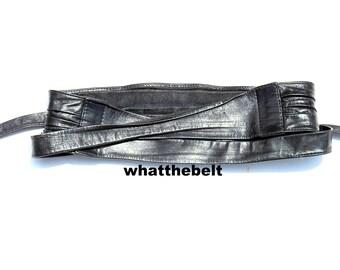 Vintage Belt WRAP Soft Black Tie Belt