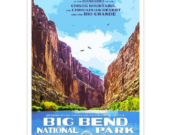 """Big Bend National Park WPA style poster. 13"""" x 19"""" Original artwork, signed by the artist. FREE SHIPPING!"""