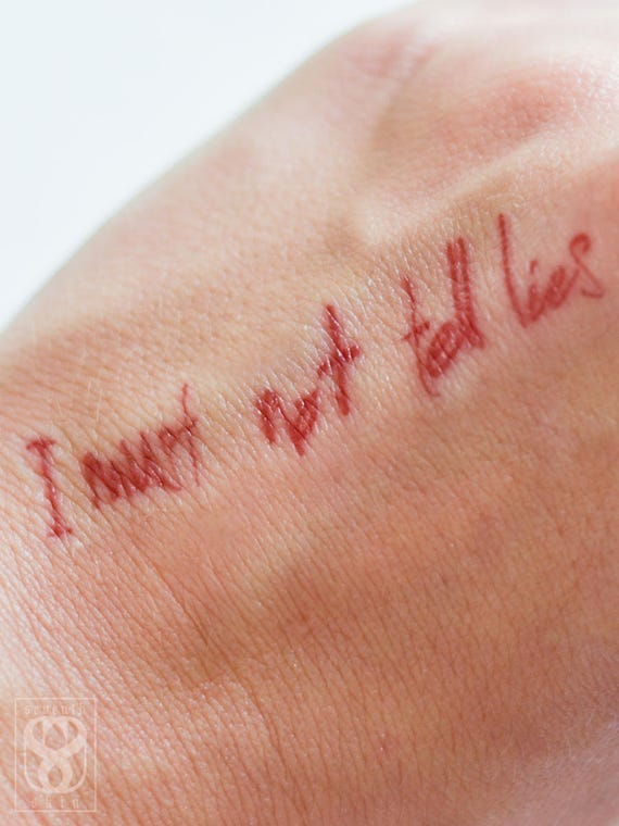 Realistic i must not tell lies temporary tattoo for I must not tell lies tattoo