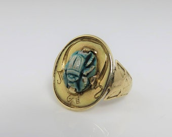 Antique 14k Yellow Gold Egyptian Revival Scarab Ring 1920's