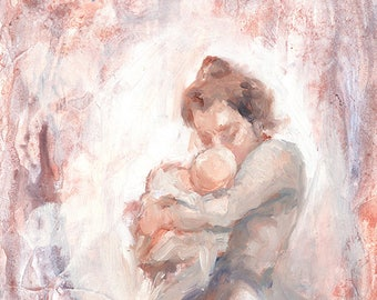 Mother and Child Oil Painting Print