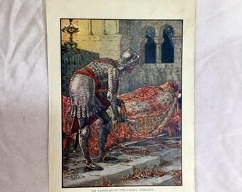 Walter Crane Color Print 1911 Sir Lancelot in the Chapel Perilous King Arthur