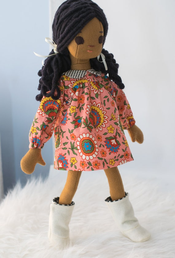 Black 16.5 inch Phoebe Rag Doll with Wardrobe, new size