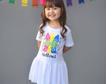 Girl School Dress with Glitter Crayons and Embroidered Name