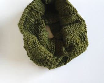 The Knitted Pine, Ribbed Forest Green Cowl, Cilantro Scarf, Knit Scarves, Women's Winter Wrap