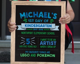 First Day of School Sign - Back to School Sign - First Day of School Poster - First Day of Kindergarten Sign - Chalkboard Sign - Preschool