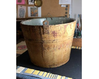 RARE Antique Mustard Yellow Wooden Sap Bucket from New England c.1860