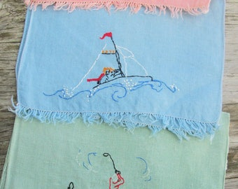 Set of 3 Linen Embroidered Tea Towels Sports Women 20s 30s