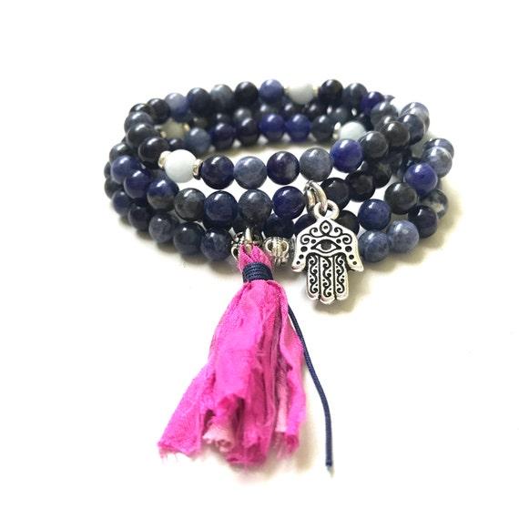 Sodalite Mala Bead, Wrap Bracelet, Mala Necklace For Self Acceptance, Aquamarine Mala, 108 Bead Mala On Stretch Cord, Sari Silk Tassel Mala