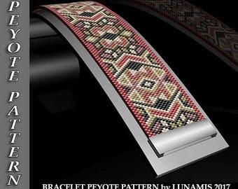 bracelet peyote pattern, odd count, bracelet design, peyote stitch pattern, digital file, pdf format, lunamis, #064P