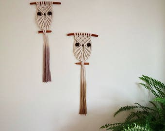 Macrame Owl Cotton Wall Hanging / Knotted Owl Wall Hanging / Knotty Knotty Macrame