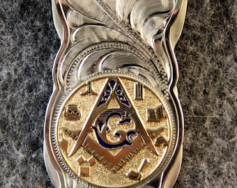 Money Clip - IN STOCK Hand Engraved Money Clip with Masonic Emblem Makes a Great Gift for Him