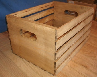 """LARGE 18"""" storage crate walnut stain, wood crate, wooden crate, rustic storage crate, display crate"""