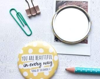 Yellow Spotty Pocket Mirror - Gift for Women - Christian gifts -Compact Mirror - bible verse - birthday gift - stocking filler