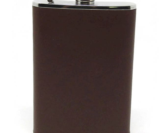 Vintage Leather Wrapped Flask - Brown Leather Wrapped Flask - Groomsmen Gift - Gift for Dad - Gift for Him - Ideas