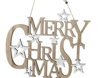 Merry Christmas Wooden Brown & White Sign