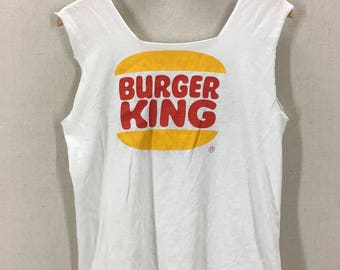Vintage 80's Burger King Whopper Burger Chopped Cut Muscle TShirt Fits like a Small