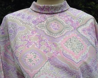 Vintage 1960s, 1970s blouse, top, tunic. Pale pink & purple psychedelic pattern. Mod, min dress.