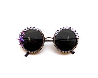 """Umphrey's Mcgee """"Wappy Sprayberry"""" hand decorated sunglasses, super groovy funk shades perfect for festival season"""