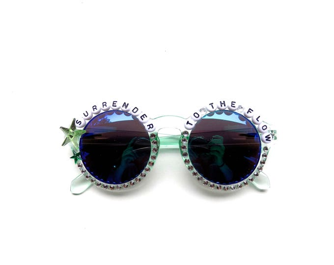 """Phish """"Surrender to the Flow"""" hand decorated Groovy Glasses, Phish Lizards embellished sunglasses, funky shades with Phish lyrics"""