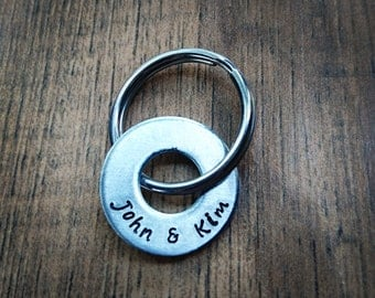Hand Stamped Personalized Couples Keychain - Boyfriend Gift - husband gift - Anniversary Gift - Couple Keychain -