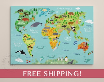 Kids World Map Etsy - Children's maps to print