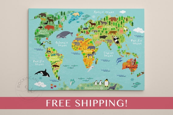 Childrens World Map Print World Map On Canvas Nursery Wall - Children's map of the world to print free