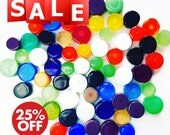 Polka Dot Circle 40gr/80gr Handmade Glass Tiles for Mosaic Decoration, Murano Lampwork & Fused Glass (size: 5-12mm)