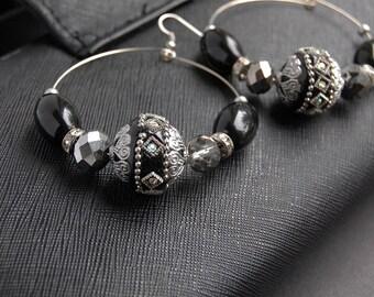 Hoop Earrings, Beaded Black Hoop Earrings, Black Beaded Hoop Earrings, Black And Silver Beaded Hoop Earrings, Large Hoop Earrings
