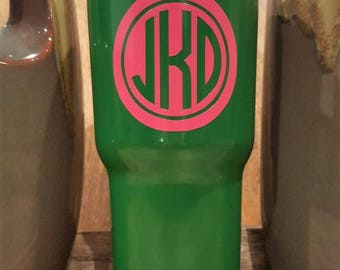 Personalized Powder Coated Tumbler (Mug). Double Circle Cutout Monogram. Choose decal color, tumbler color & size. Perfect for gift giving.