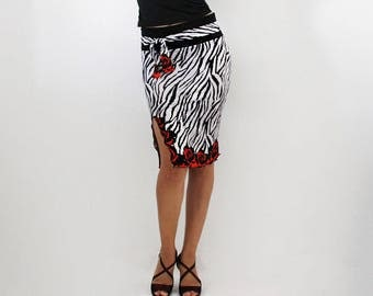 Tube balck and white animal zebra print with flowers, Tango, Salsa dance party skirt, go outing wear