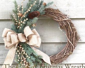 Gold Christmas Grapevine Wreath, Christmas Wreath, Front Door Wreath, Country Christmas Wreath, Rustic Christmas Wreath