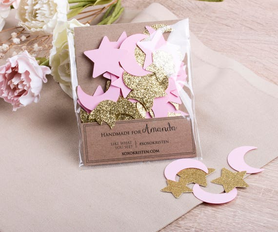 80 CT Twinkle Twinkle Baby Shower Confetti, Pink and Gold Birthday Confetti, Moon and Star Party Decorations, Girl Baby Shower
