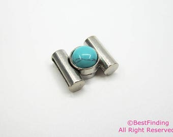 2pcs 15x3mm Turquoise cabochon magnetic clasp 15mm flat leather clasp