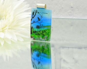 Fused Glass  Pendant-Dichroic Glass Pendant-Landscape-Birds in Tree-Fused Glass Jewellery-Dichroic Jewelry-Fused Glass Jewelry JBT449
