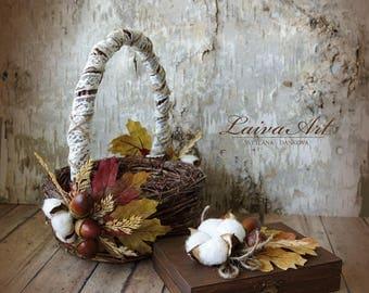 Fall Wedding Flower Girl Basket Fall Wedding  Rustic Wedding Decoration Autumn Wedding