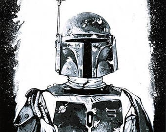 STAR WARS - Boba Fett (The Empire Strikes Back) original painting UNIQUE