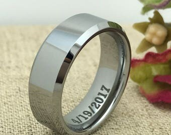 8mm Personalized Tungsten Ring, Custom Promise Ring for Him, Couple Promise Ring, Custom Date Ring, Purity Ring, His Wedding Band, LGBT Ring