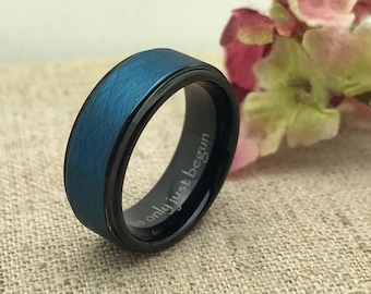 8mm Personalized Tungsten Ring, Coordinates Ring, Custom Date Ring, Custom Promise Ring for Him, Purity Ring,Family Name Ring,Groomsmen Ring