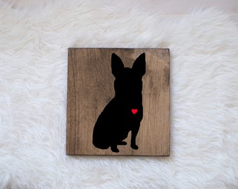 Hand Painted Chihuahua Silhouette on Stained Wood, Dog Decor, Dog Painting, Gift for Dog People, New Puppy Gift