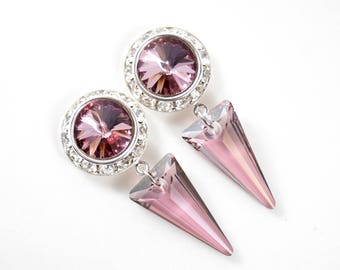 5/8 9/16 1/2 1 PAIR Antique Pink Spike Silver Ear Dangle Plugs Gauges Tunnels or Studs Made With SWAROVSKI Elements Wedding Bridal