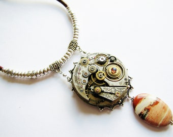 Steampunk Antique Watch Movement & Jasper Necklace, Steampunk Necklace, Steampunk Watch Jasper Necklace, Silver Bead Necklace, PN81