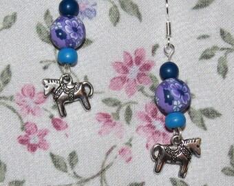 Fantasy pony, flower & polymer clay earrings