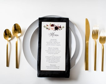 NEW!  isabella wedding menus (sets of 10)  // burgundy watercolor floral blush romantic calligraphy custom wedding menu
