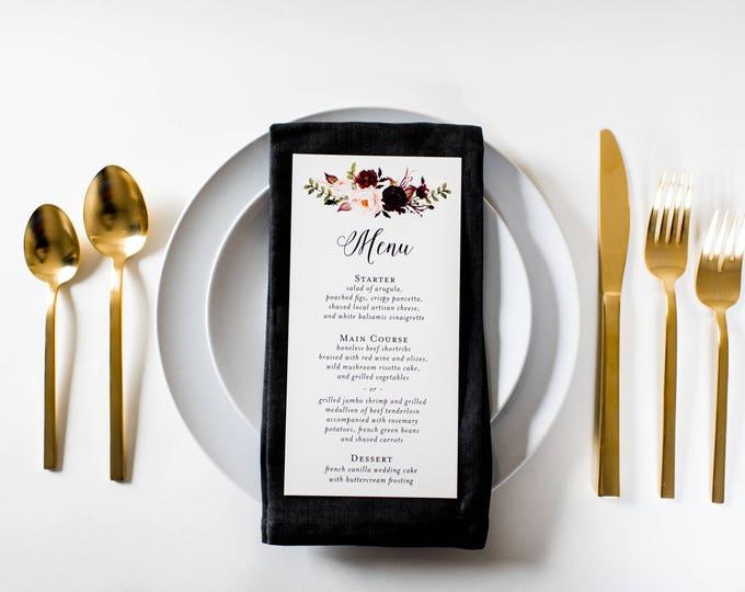 NEW!  isabella wedding menus (sets of 10)  // burgundy watercolor floral blush romantic calligraphy custom wedding menu