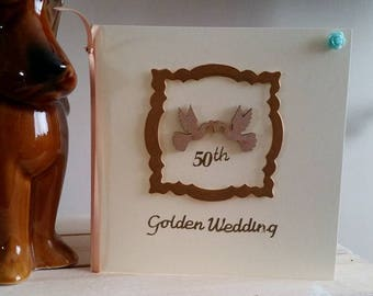 Golden Wedding Anniversary Card - 50th Anniversary Card - Wife, Husband, To You Both, Handmade Card, Gold Card, Wooden Doves Card, Special