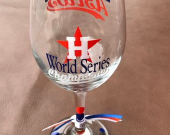 Houston Astros World Series CHAMPIONS....Glass, Baseball, Sports Glassware, Exclusive Glass to Celebrate the WIN!
